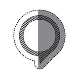 monochrome sticker of circular speech with tail to right side and contour of stripes Stock Photo