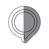 monochrome sticker of circular speech with tail to right side Stock Photo