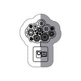 monochrome sticker with concept of maintenance service of video camera Stock Image