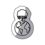 monochrome sticker contour of cloud with rain and lightning over planet earth Stock Images