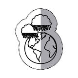 monochrome sticker contour of cloud with rain over planet earth Stock Photos