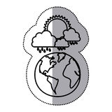 monochrome sticker contour of cloud with rain and sun over planet earth Stock Photos