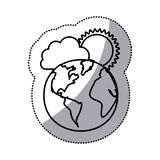monochrome sticker contour of cloud with sun over planet earth Royalty Free Stock Image