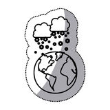 monochrome sticker contour with cumulus of clouds and snow fall over planet earth Stock Photo