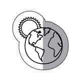 monochrome sticker contour with sunset over planet earth Stock Image