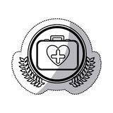Monochrome sticker with firts aid kit with symbol cross in heart in circle with olive branchs Stock Photography