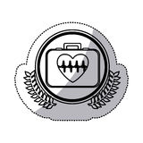 Monochrome sticker with firts aid kit with symbol line of vital sign in heart inside circle with olive branchs Stock Photography