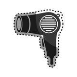 Monochrome sticker hairdryer utensil hairstyle Stock Photo