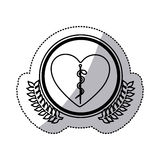 Monochrome sticker of heart with health symbol with serpent entwined in circle with olive branchs. Vector illustration Stock Images