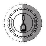 Monochrome sticker round frame with masher Royalty Free Stock Image