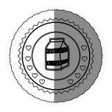 monochrome sticker round frame with milk carton Stock Photo