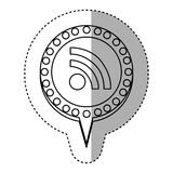 monochrome sticker with wifi icon and circular speech with contour dotted and tail Royalty Free Stock Photo