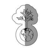 Monochrome sticker of world with tree without leafs. Illustration Stock Image