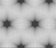 Monochrome striped hexagons forming black stars Stock Image