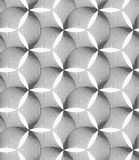 Monochrome striped puckered hexagons Stock Images