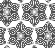 Monochrome striped six pedal rhombus flowers Royalty Free Stock Photography