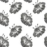 Monochrome stylized flowers with graceful lines. Vector seamless background Royalty Free Stock Images