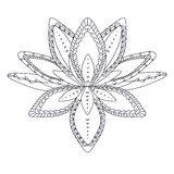 Monochrome stylized ornamental lotus flower for logo, for tattoo, for machindi Royalty Free Stock Photography