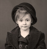 Monochrome stylized retro portrait of a child girl Stock Images