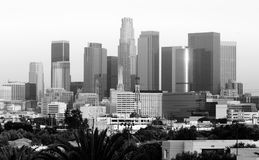 Monochrome Sunset Los Angeles California Downtown City Skyline Royalty Free Stock Images