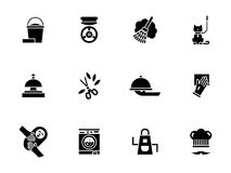 Housework personnel glyph style icons set Royalty Free Stock Photos