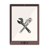 Monochrome tablet with crossed wrenches in display Stock Photos