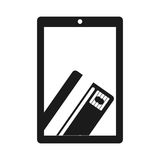 Monochrome tablet with display with credit card in hand Royalty Free Stock Images