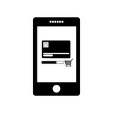 Monochrome tablet with display with credit card and shopping cart Royalty Free Stock Images
