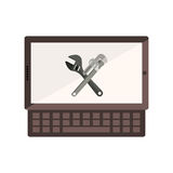 Monochrome tablet and keyboard with crossed wrenches in display Stock Photos