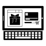 Monochrome tablet and keyboard with display with gift and credit card Stock Photos