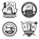 Monochrome Tailor Emblems Set. With sewing machine equipment and tools in vintage style isolated vector illustration Royalty Free Stock Photography
