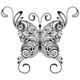Monochrome  tattoo butterfly. Monochrome  tattoo stylized vintage  butterfly Royalty Free Stock Image