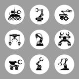 Monochrome technology factory robot icons design. Vector illustration vector illustration
