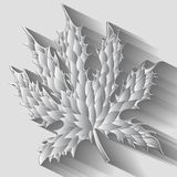 Monochrome textured maple leaf with shadow. Vector Royalty Free Stock Images