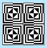 Monochrome tile in black and white, inverse effect, optical art patterns Stock Photography