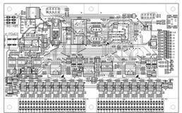 Monochrome topology of a printed circuit board Stock Photos