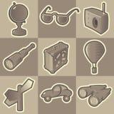 Monochrome travel icons Stock Photo