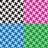 Monochrome Twirl Patterns. Collection of swirly abstract patterns in black, pink, blue and green repeats seamlessly Stock Photography