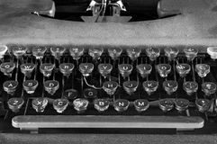 Monochrome Typewriter Keyboard Closeup Stock Images