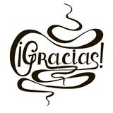 Monochrome typography banner Gracias, means thanks in spanish language, swirls hand drawn lettering Stock Images