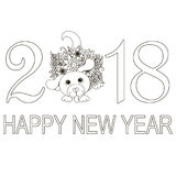 Monochrome typography banner Happy New Year 2018 with doodle hand drawn dog Stock Photography