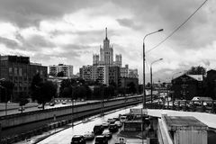 Monochrome urban landscape. View of the river Yauza and its embankments on rainy day, Moscow, Russia. Monochrome urban landscape. View of the river Yauza and Stock Photography