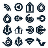 Monochrome vector abstract shapes, different business icons and Stock Photography