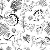 Seamless pattern with prehistoric animals and plants. Black and white vector illustration. Monochrome vector background with prehistoric animals and plants Royalty Free Stock Photography