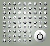 Monochrome vector buttons. Set of 72 various monochrome vector buttons, icons Stock Photography