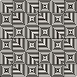Monochrome vector geometric seamless pattern with squares, lines, repeat tiles. Vector geometric seamless pattern. Abstract black and white graphic texture with vector illustration