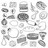 Monochrome vector hand drawn food Stock Photo