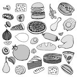 Monochrome vector hand drawn food Stock Photography