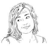 Monochrome vector hand-drawn image, blameworthy young woman. Bla Stock Image