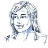 Monochrome vector hand-drawn image, blameworthy young woman. Bla Royalty Free Stock Photography